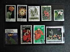 Lot de 9 timbres oblitérés nature et fleurs - Monde et France