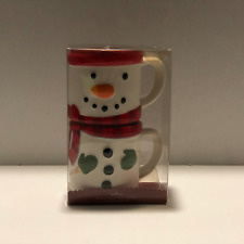 HALLMARK SET OF 2 STACKABLE SNOWMAN HOT CHOCOLATE COFFEE MUGS CUPS NEW IN BOX