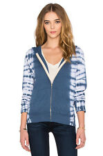 NWT MONROW Size Small Zip Up Hoodie With Border Tie Dye Navy Blue $154