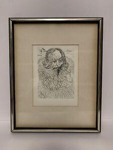 Salvador Dali's Original Etching Of Cervantes  Certificate Of Authenticity ASIS