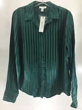 Topshop Women's Tall Long Sleeved Stripe Satin Button Front Top Hunter US:6 NWT@