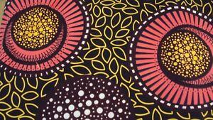 African Ankara 100% Cotton Print for Dress Making & Craft 6 Yards - Brown & Pink