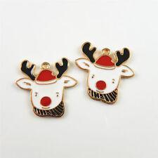 20pcs MultiColors Alloy Enamel Reindeer Head Look Pendants Charms Findings 52997