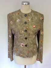 JAEGER GREY FLORAL PRINT COLLARLESS  BUTTON FRONT JACKET SIZE 12