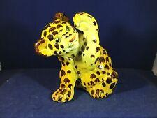 Adorable Porcelain Leopard Cheetah or Jaguar Cub Figurine w Raised Paw Unmarked