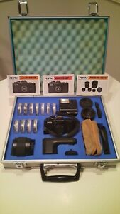 """RARE PENTAX AUTO 110 """"SUPER"""" COMPLETE SYSTEM OUTFIT IN AL. CASE - WORKS"""