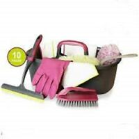 10 Piece Home Cleaning Caddy Set & Carry Holder Complete House Clean Kit Set