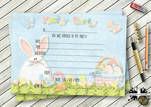 PERSONALISED HOPPY HEARTS EASTER PARTY,EGG HUNT INVITATIONS OR THANK YOU CARDS