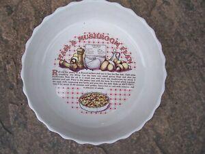 New White Ceramic Ham And Mushroom Flan Dish With Recipe
