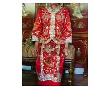 Vintage Chinese Embroidered silk wedding dress metallic crystal beads embroidery