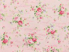 Romantik Stoffe Rosenstoffe rosa Rosen Rosensträuße Schrift rosa pink BW 30x1,12