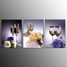 FRAMED Canvas Print Home Decor Glass Cups Picture Painting Wall Art 3 Panel
