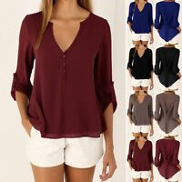 Womens Long Sleeve Chiffon T Shirt V-neck Ladies Blouse Casual Tops Tee Shirts