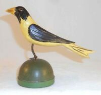 2008 Hand Carved Painted Wood Folk Art Yellow & Black Bird By Jonathan Bastian