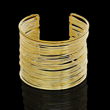 Trendy Gold Multilayer Men Women Punk Cuff Bangle Wide Bracelet Creative Jewelry