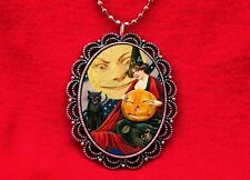 WITCH CAT PUMPKIN MOON VINTAGE HALLOWEEN PENDANT NECKLACE WICCA
