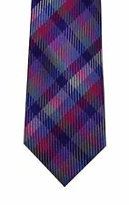 Nick Cannon men neck tie necktie 100% silk purple blue plaid skinny new