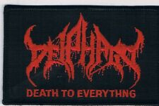 DEIPHAGO red logo embroidered patch blasphemy sarcofago nuclear hammer