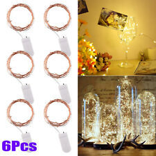 6 X20 LED Warm White Battery Micro Rice Wire Copper Fairy String Lights Party