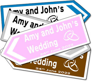 Personalised Aluminium Metal Road Direction Style Wedding Sign - Various Colours