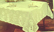 Snowman Family Tablecloth 60x82 Ivory Lace Tablecloth Heritage Lace NWOT