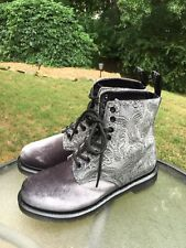 Doc Martens 1460 Paisley Brocade Women's 9 Grey Velvet Ankle Combat 8 Eye Boots