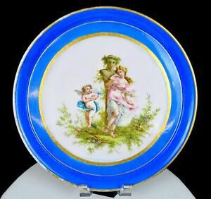 Vieux Paris Porcelaine Ancien Maiden & Cupidon Bleu Doré Large 12 3/4 Chargeur