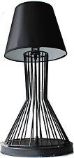 Lampada da tavolo industriale Vintage Retrò Nero FERRO PESANTE base piccola nera tessuto SHA