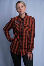 Harley-Davidson Women's Orange Black Plaid Milwaukee, WIS. L/S Woven Shirt (S10)