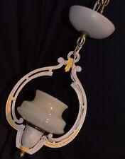 VTG ART DECO ORIGINAL CAST METAL CHANDELIER CEILING FIXTURE GLASS SLIP SHADE