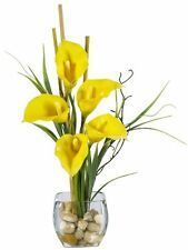 Nearly Natural Calla Lilly Liquid Illusion Silk Flower Arrangement- Yellow