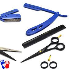 Barber Salon Set Hairdressing Scissors Hair Comb Shaving Head Razor Blue Handle