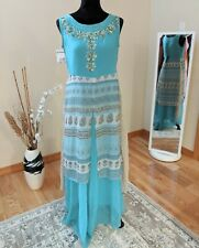 Ethnic Dress Teal Blue Printed & Embroidered, Indian Clothes, Sleeves available