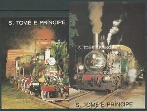 Sao Tomé und Príncipe 1991 Eisenbahn Lokomotive Block 253/54 postfrisch (C27318)