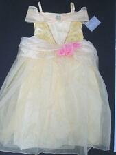 DISNEY STORE PRINCESS BELLE KIDS GOWN YELLOW TULLE PINK DRESS COSTUME 9/10 NWT