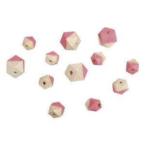 Beads Wood With Facets Pink - Rayher
