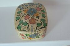 Vintage Hand Painted Paper Mache Lacquered Trinket Box Made in India