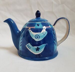 REDUCED ❀ڿڰۣ❀ WHITTARD of CHELSEA Hand Painted BLUE VALENTINE LOVE BIRDS Teapot❀