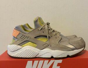 Nike Air Huarache Run Oatmeal Gray Suede Yellow Orange Women Size 11 681838-002
