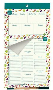 """52 PAGE MAGNETIC Weekly Meal Planner & Shopping List Fridge Magnet Diet 6""""x11"""""""