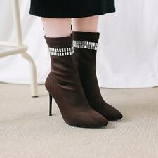Sexy Ladies Suede Pointed Toe Stiletto High Heels Rhinestone Sock Ankle Boots