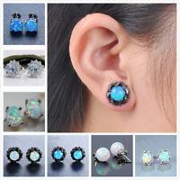Women Engagement Jewelry Fashion 925 Silver Filled Blue Opal Earring Ear Stud
