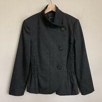 Caroline Biss Jacket Gray Stand Collar Pucker Elastic Buttons Lined EU 38 US 6