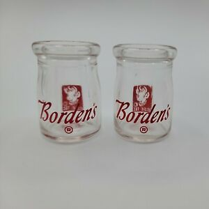 Vintage Borden's Dairy Creamer Glasses, Set of 2, with Elsie the Cow, 2 in. tall