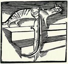 Gerhard Marcks  Original-Holzschnitt  Kleine Katzen 1922