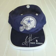 RARE Embroidered Signature Troy Aikman Dallas Lined Cowboy Helmet Emblem Cap Hat