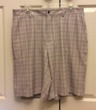 Mens Dunning Stretch Performance Golf Shorts Flat Front Beige Plaid Size 34