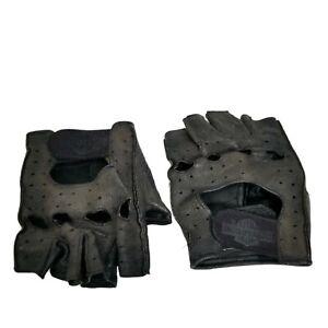 Mens Harley Davidson Fingerless Leather Gloves Black Sz Small Open Finger