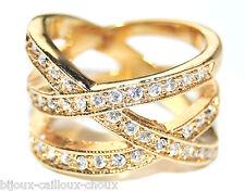 Bague large couleur or croisillon cristal blanc T 52 bijou ring A3