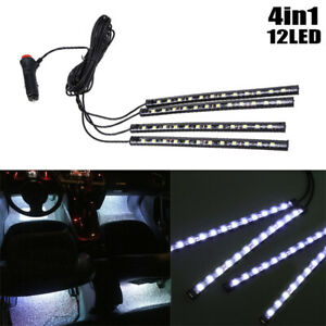 12 LED White Car Interior Accessories Floor Decorative Atmosphere Lamp Light 4x